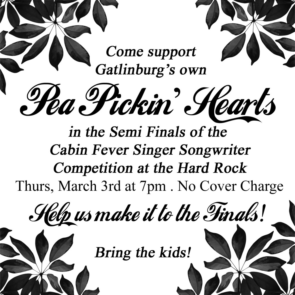 Come cheer for the Pea Pickin' Hearts at the Hard Rock Gatlinburg, March 3rd at 7pm!