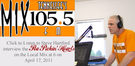 Click to hear the Pea Pickin' Hearts interview on Mix 105.5 FM Locals Mix at 6 on 4/17/2011!