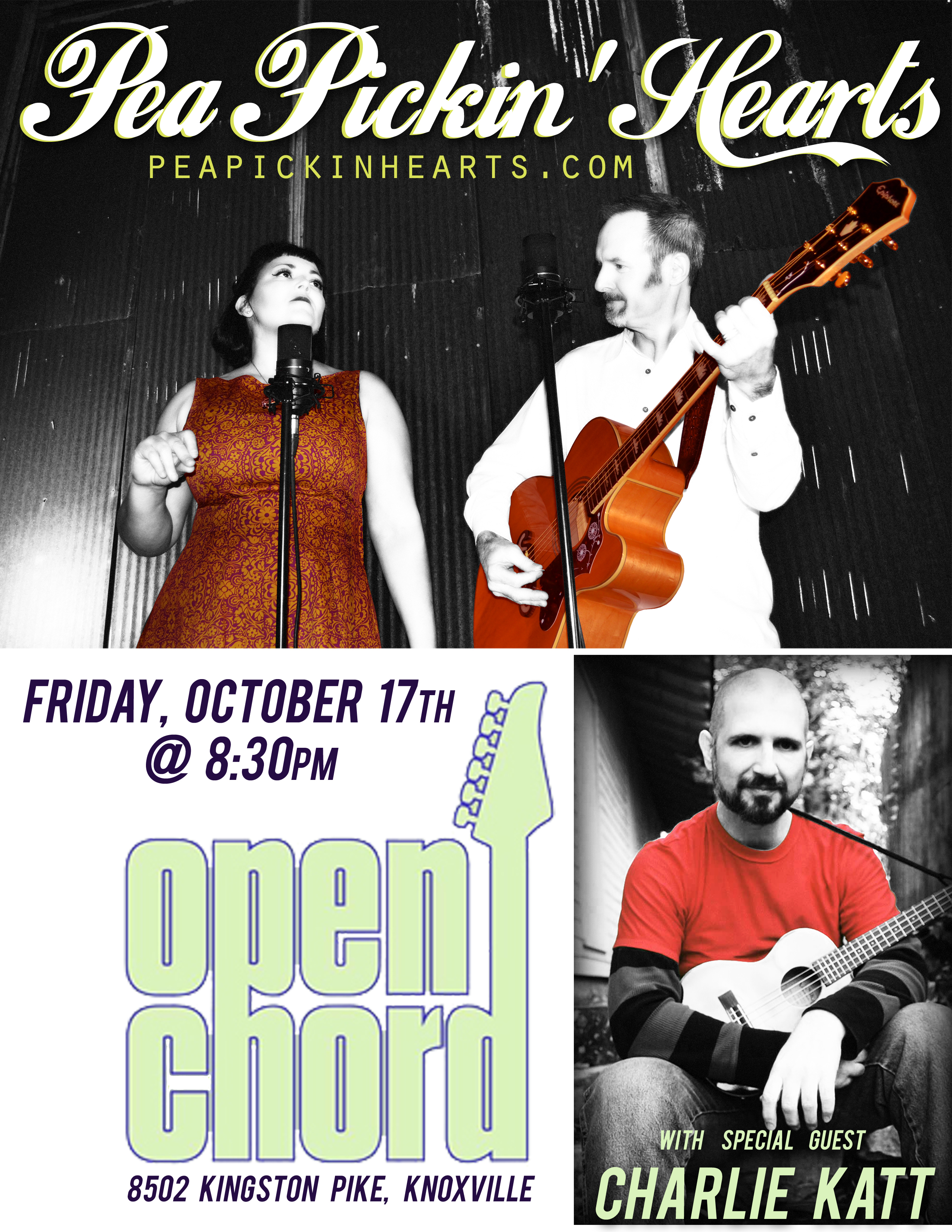 Hear the Pea Pickin' Hearts with special guest Charlie Katt at Open Chord Brewhouse in Knoxville!