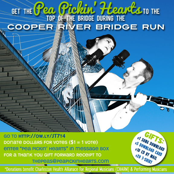 Help get the Pea Pickin' Hearts to the TOP of the Cooper River Bridge!