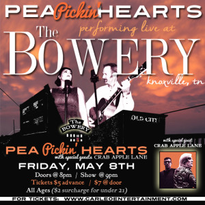 Hear the Pea Pickin' Hearts w/ special guests Crab Apple Lane at The Bowery in Knoxville!