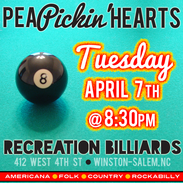 Come see the Pea Pickin' Hearts at Recreation Billiards!