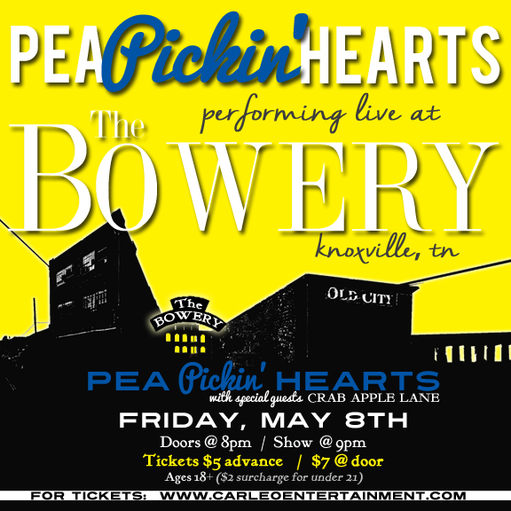 Hear the Pea Pickin' Hearts at The Bowery in Knoxville, TN!
