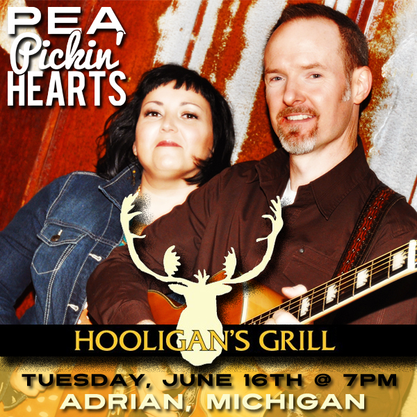 Come hear the Pea Pickin' Hearts at Hooligan's Grille in Adrian, Michigan!