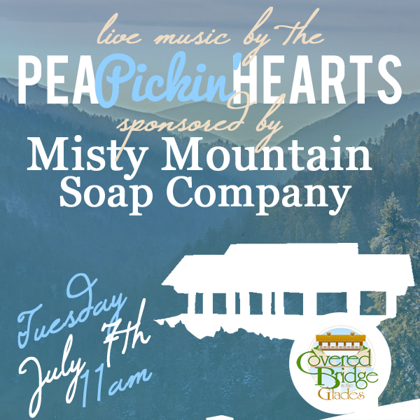 Come hear the Pea Pickin' Hearts at the Covered Bridge in the Glades!