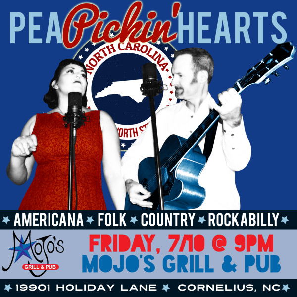 Come see the Pea Pickin' Hearts at Mojos Grill & Pub!