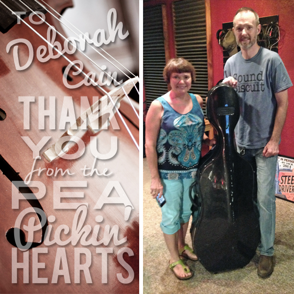 A big thank you to cellist, Deborah Cain, from the Pea Pickin' Hearts!