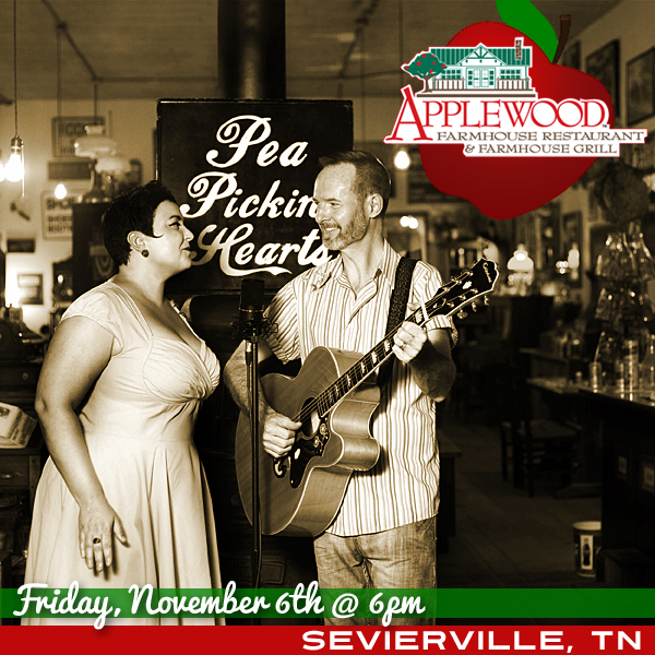 Hear the Pea Pickin' Hearts at Applewood Farmhouse in Sevierville, TN!