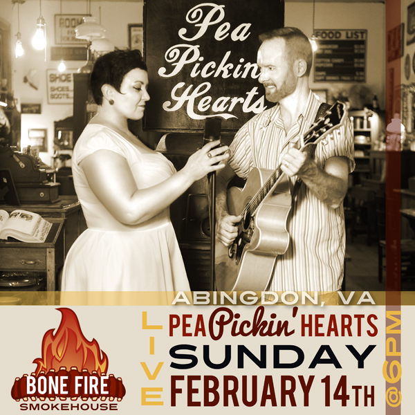 Spend Valentine's Day with the Pea Pickin' Hearts at Bone Fire Smokehouse in Abingdon, VA!