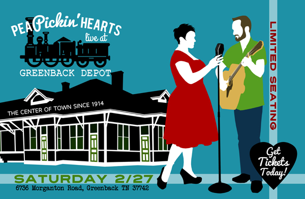 Hear the Pea Pickin' Hearts at the Greenback Depot in Greenback, TN on Saturday, February 27th