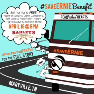 Help #saveERNIE at Barley's Maryville on Saturday, April 16th!