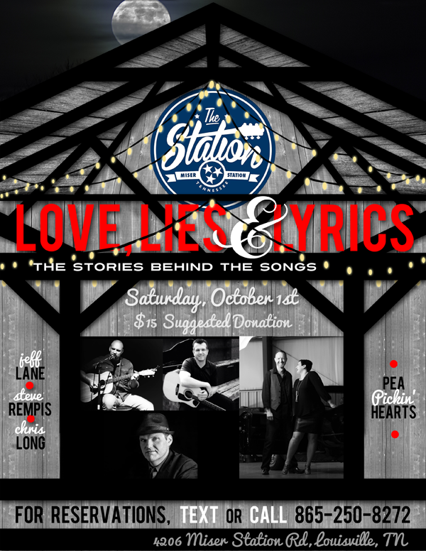 Hear the Pea Pickin' Hearts with Jeff Lane, Steve Rempis & Chris Long at The Station in Louisville, TN on Saturday, October 1st!
